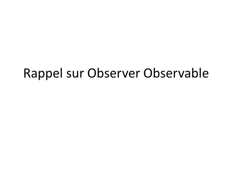 Rappel sur Observer Observable