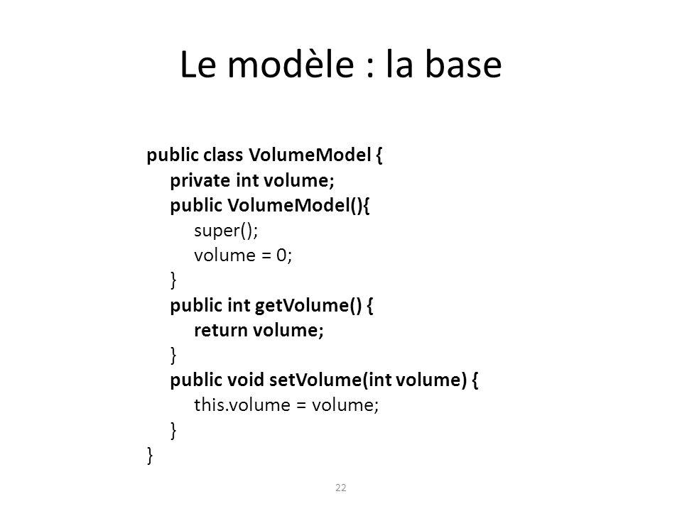 Le modèle : la base public class VolumeModel { private int volume;