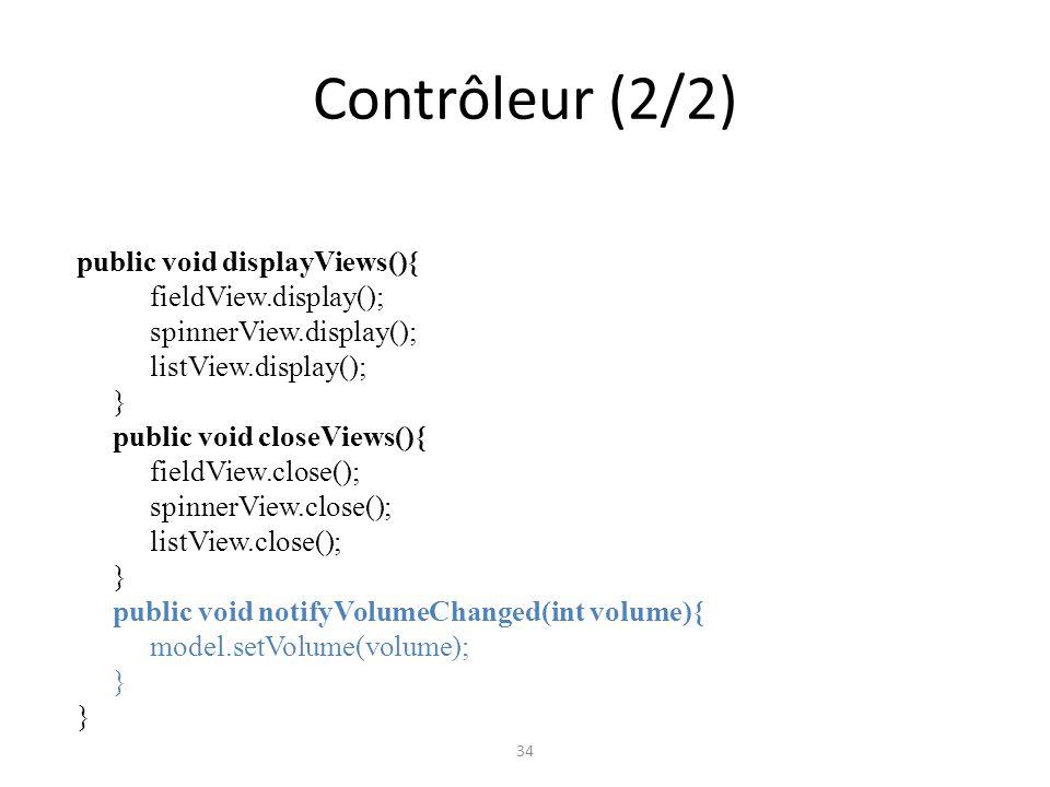 Contrôleur (2/2) public void displayViews(){ fieldView.display();