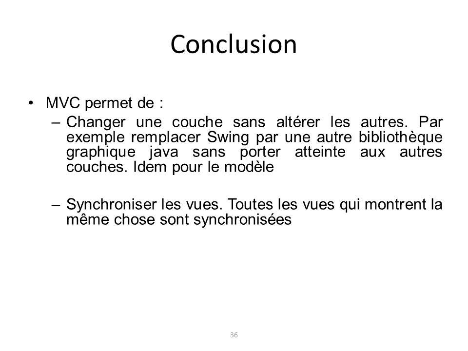 Conclusion MVC permet de :