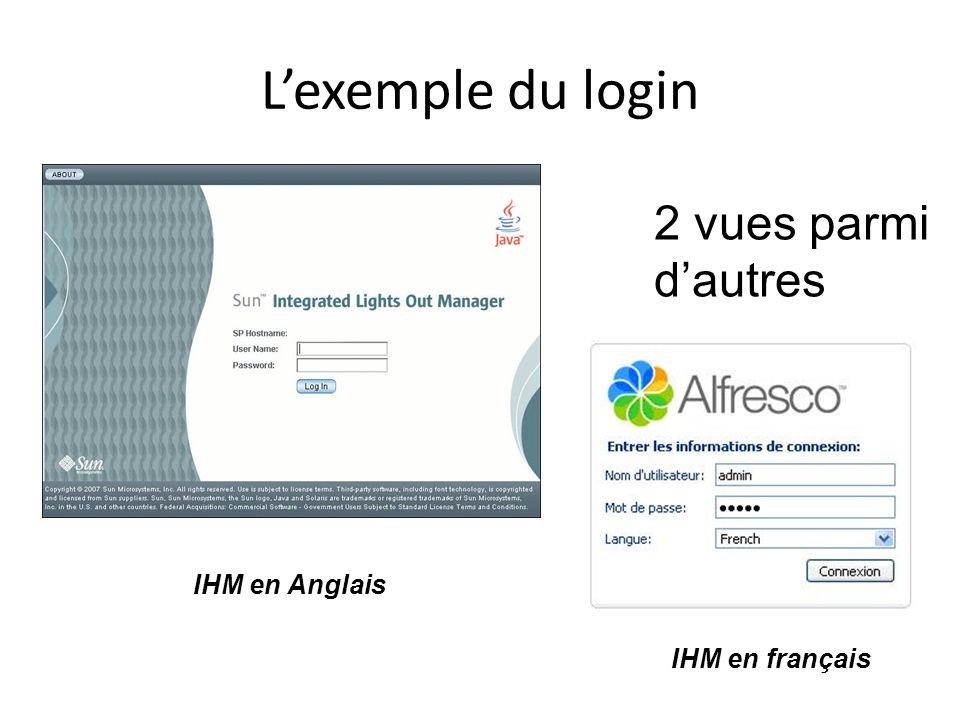 L'exemple du login 2 vues parmi d'autres IHM en Anglais