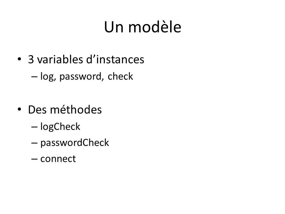 Un modèle 3 variables d'instances Des méthodes log, password, check