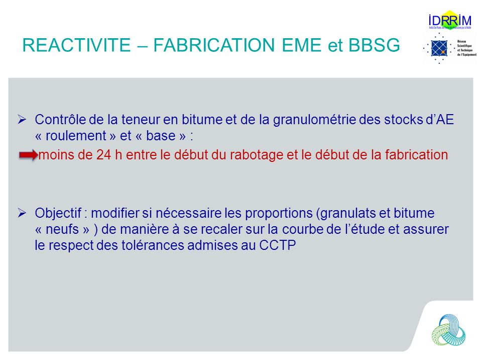 REACTIVITE – FABRICATION EME et BBSG