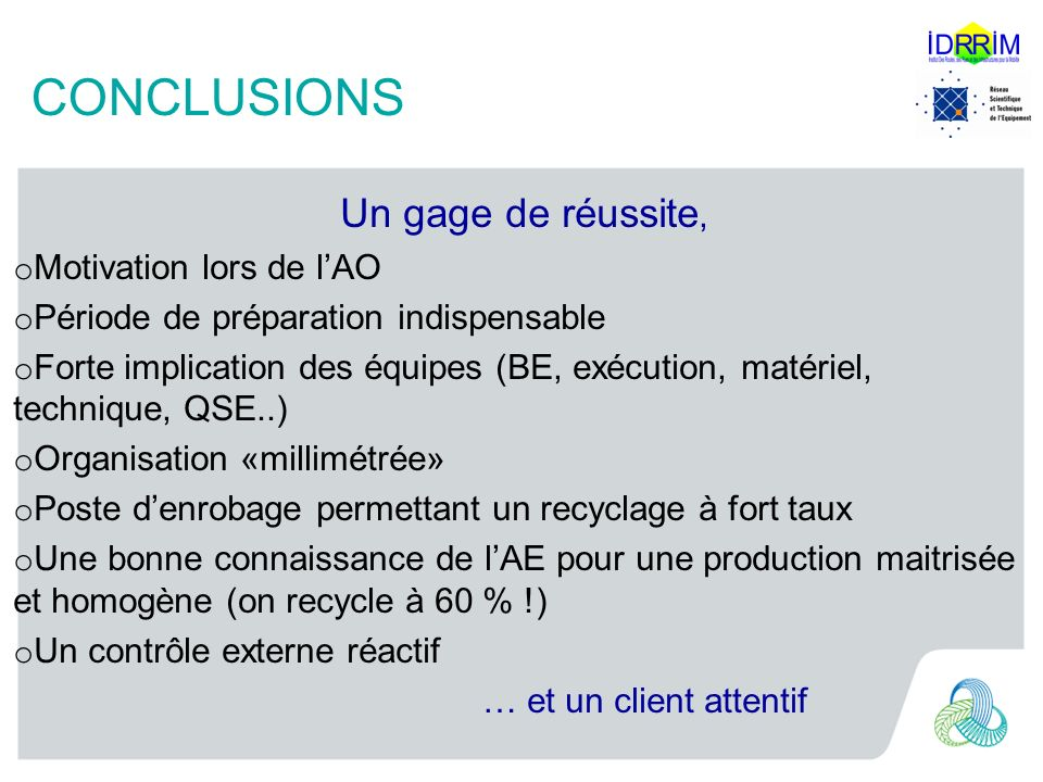 CONCLUSIONS Un gage de réussite, Motivation lors de l'AO
