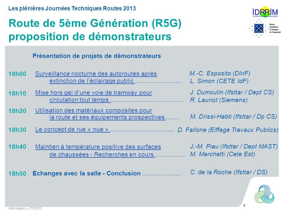 Route de 5ème Génération (R5G) proposition de démonstrateurs