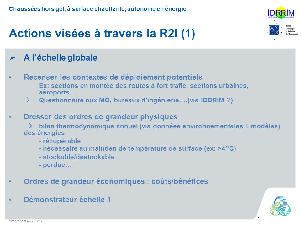 Actions visées à travers la R2I (1)
