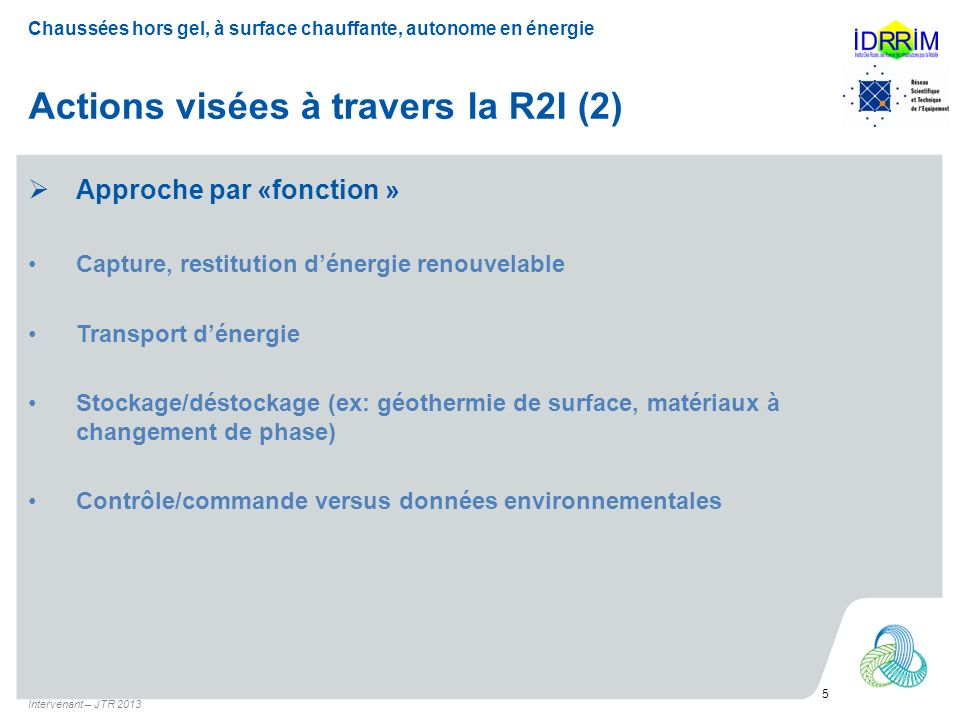Actions visées à travers la R2I (2)