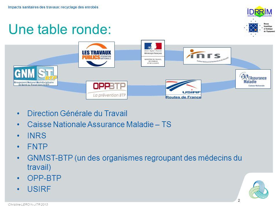 Une table ronde: Direction Générale du Travail