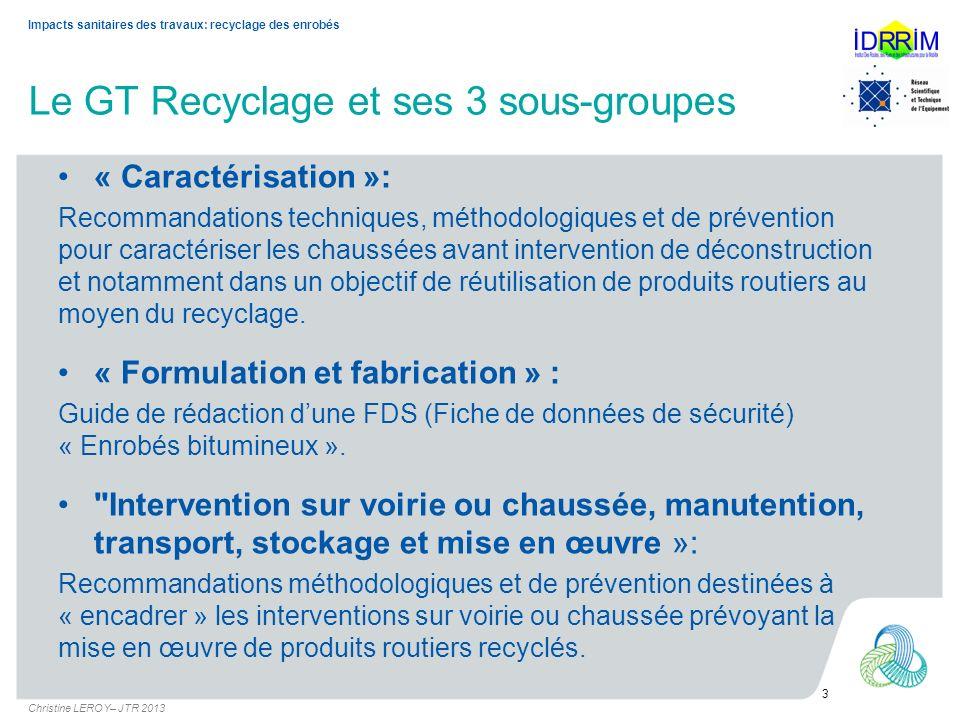 Le GT Recyclage et ses 3 sous-groupes
