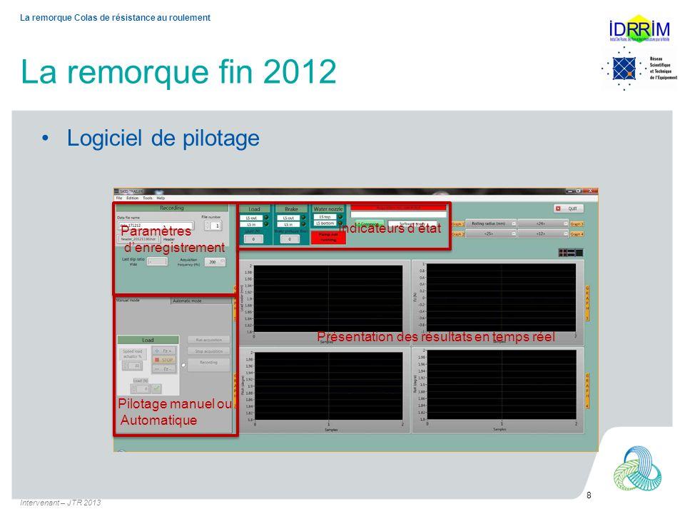 La remorque fin 2012 Logiciel de pilotage Indicateurs d'état
