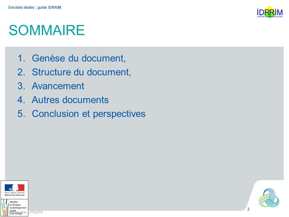 SOMMAIRE Genèse du document, Structure du document, Avancement