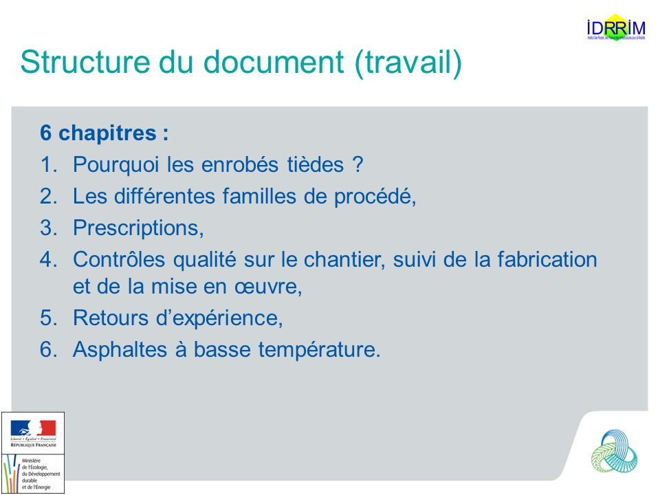 Structure du document (travail)