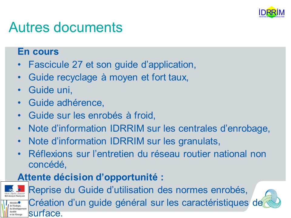 Autres documents En cours Fascicule 27 et son guide d'application,