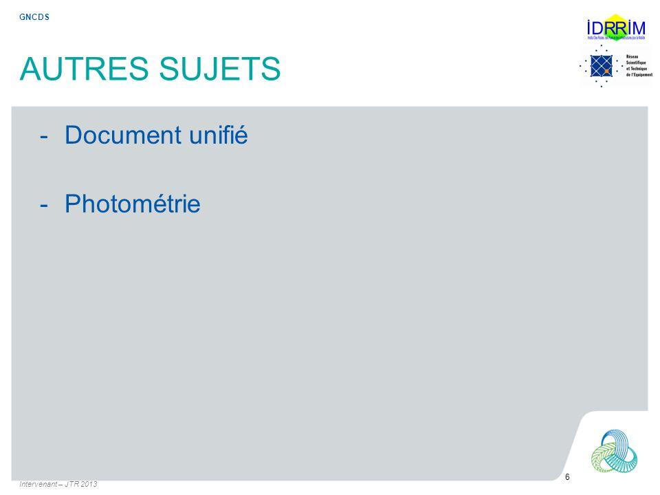 AUTRES SUJETS Document unifié Photométrie GNCDS 6