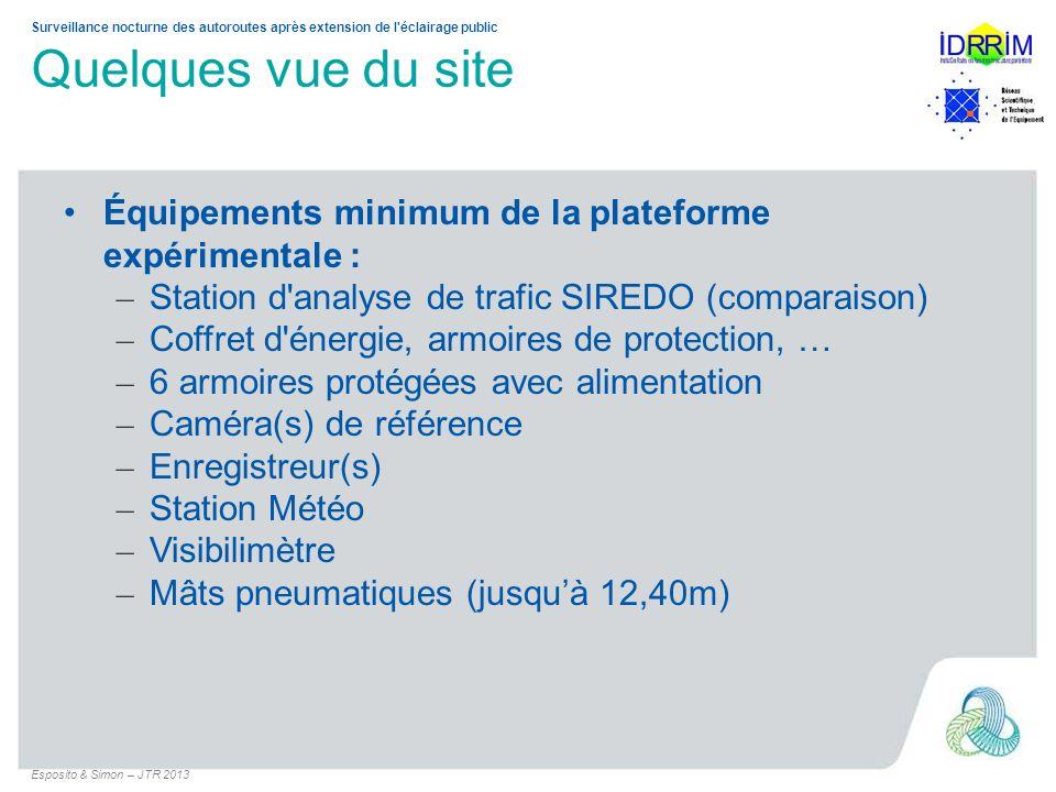 Quelques vue du site Équipements minimum de la plateforme expérimentale : Station d analyse de trafic SIREDO (comparaison)