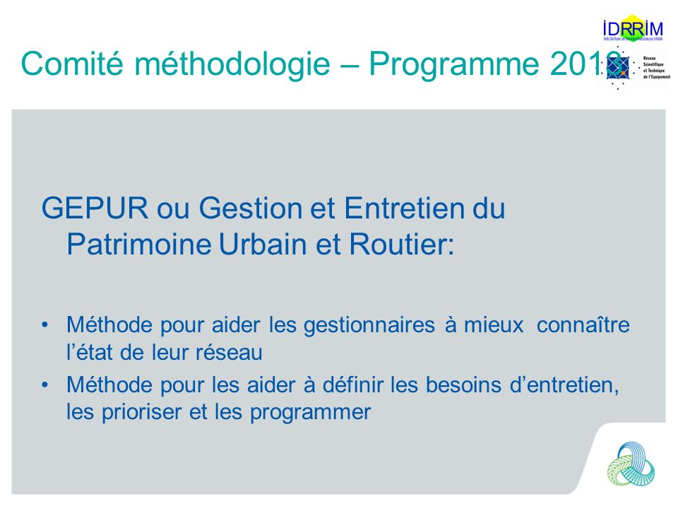 Comité méthodologie – Programme 2013
