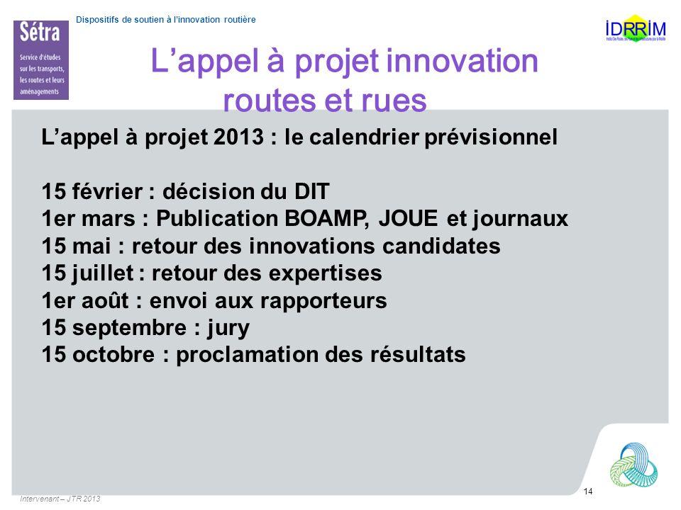 L'appel à projet innovation routes et rues