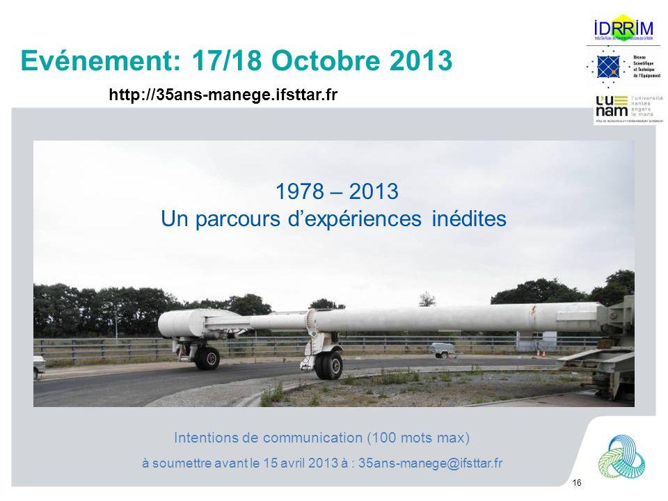 Evénement: 17/18 Octobre 2013 http://35ans-manege.ifsttar.fr. 1978 – 2013. Un parcours d'expériences inédites.