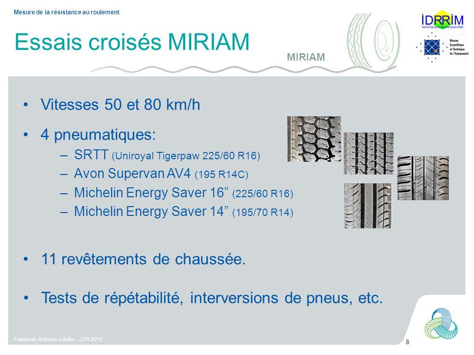 Essais croisés MIRIAM Vitesses 50 et 80 km/h 4 pneumatiques: