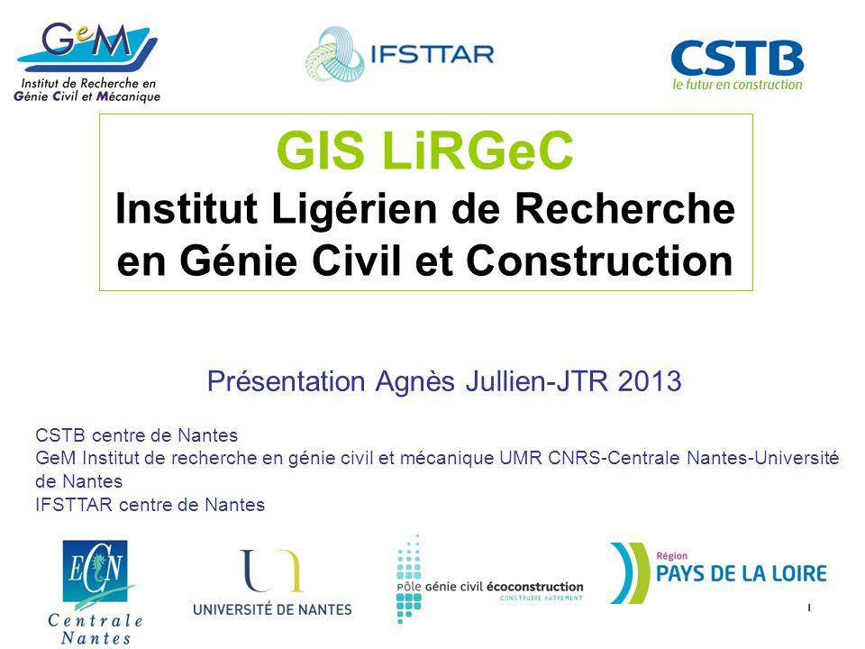 GIS LiRGeC Institut Ligérien de Recherche en Génie Civil et Construction. Présentation Agnès Jullien-JTR 2013.