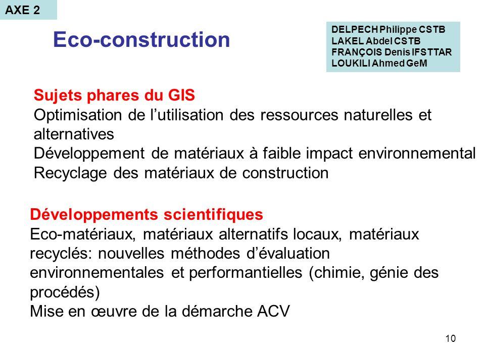 Eco-construction Sujets phares du GIS
