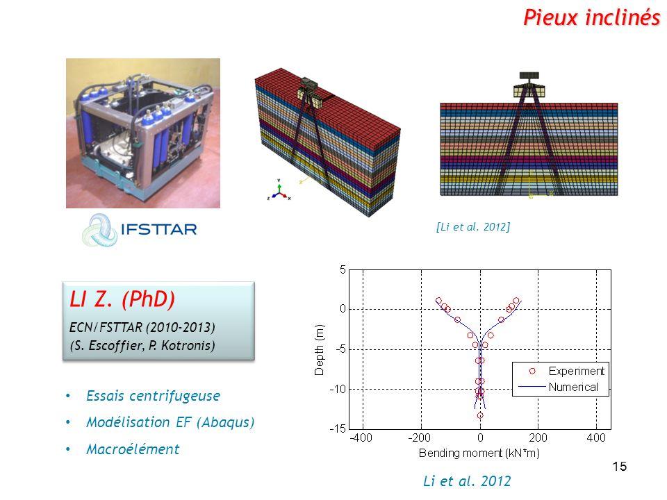 Pieux inclinés LI Z. (PhD) Essais centrifugeuse