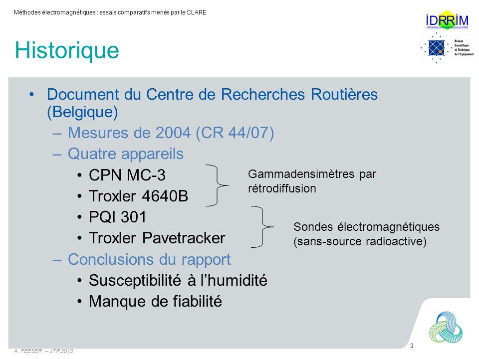 Historique Document du Centre de Recherches Routières (Belgique)
