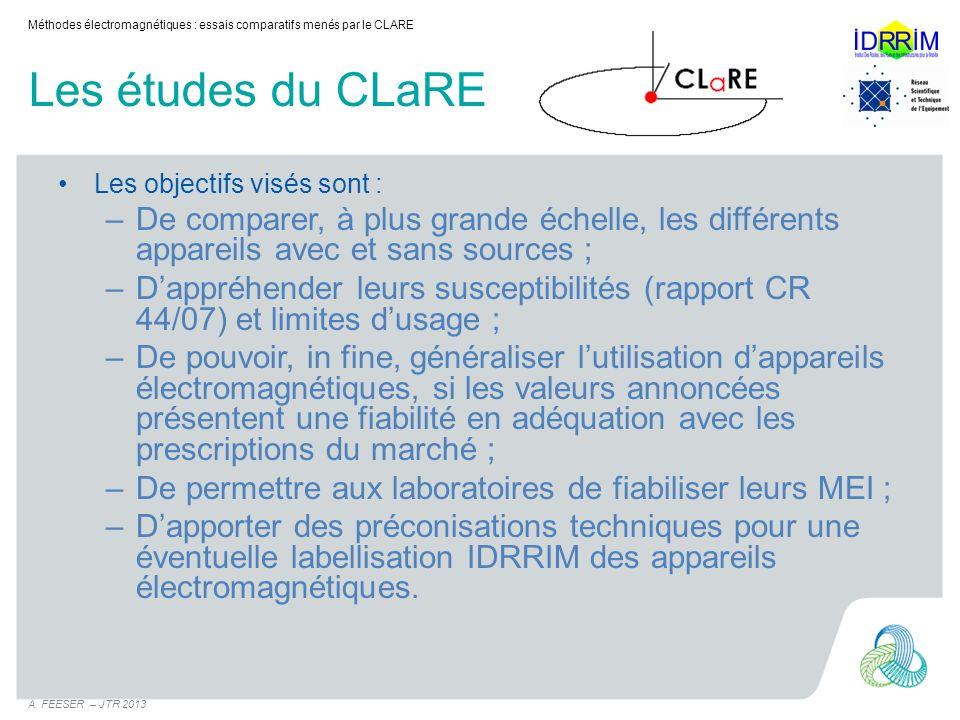 Méthodes électromagnétiques : essais comparatifs menés par le CLARE
