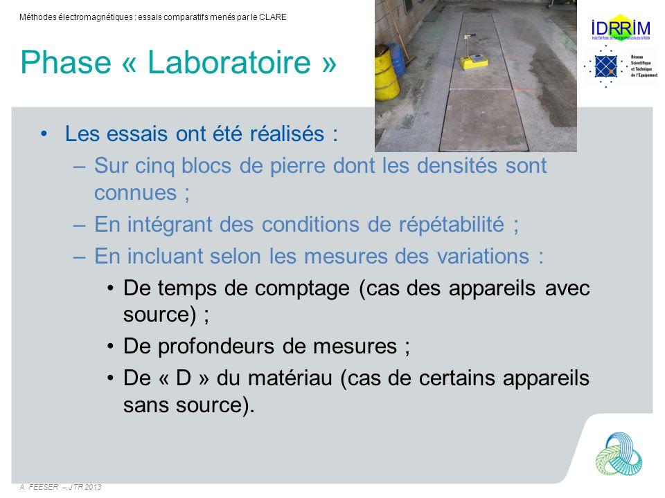 Phase « Laboratoire » Les essais ont été réalisés :