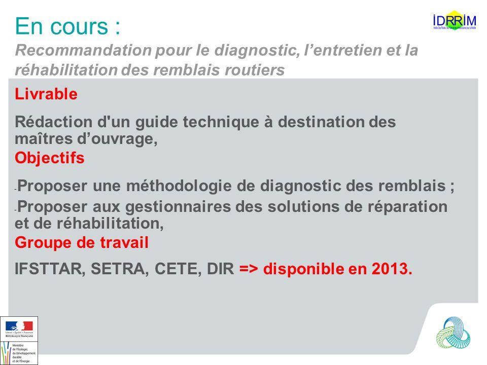 En cours : Recommandation pour le diagnostic, l'entretien et la réhabilitation des remblais routiers