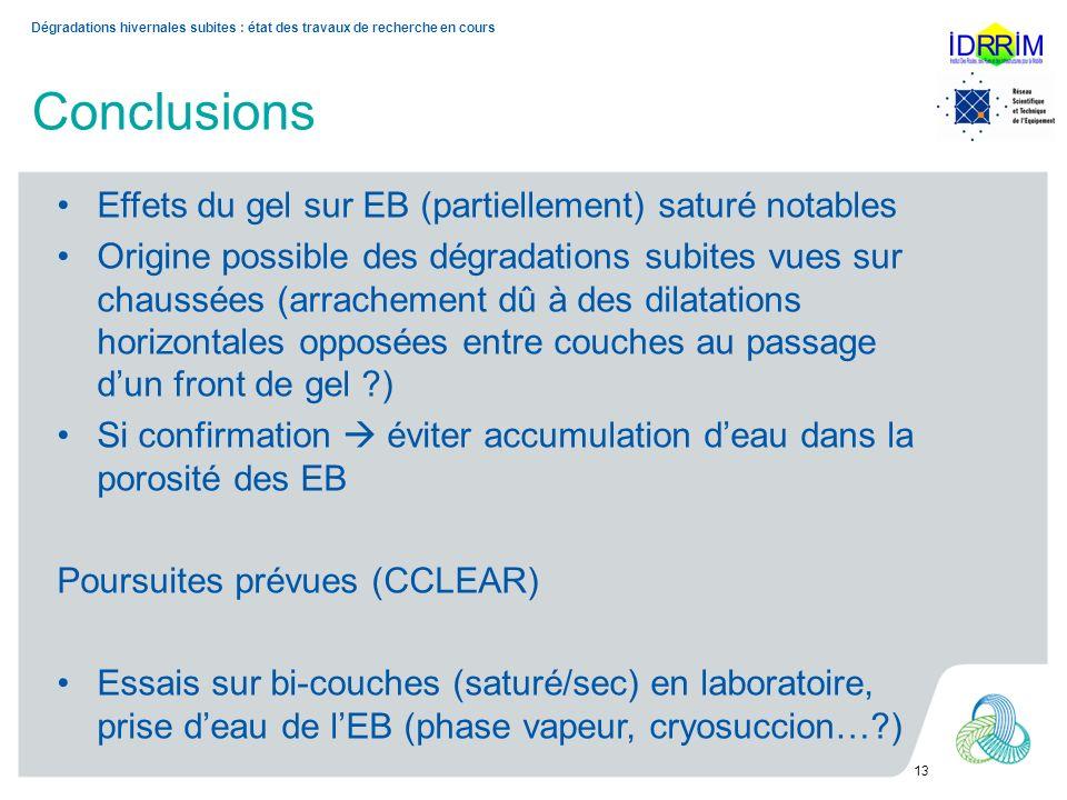 Conclusions Effets du gel sur EB (partiellement) saturé notables