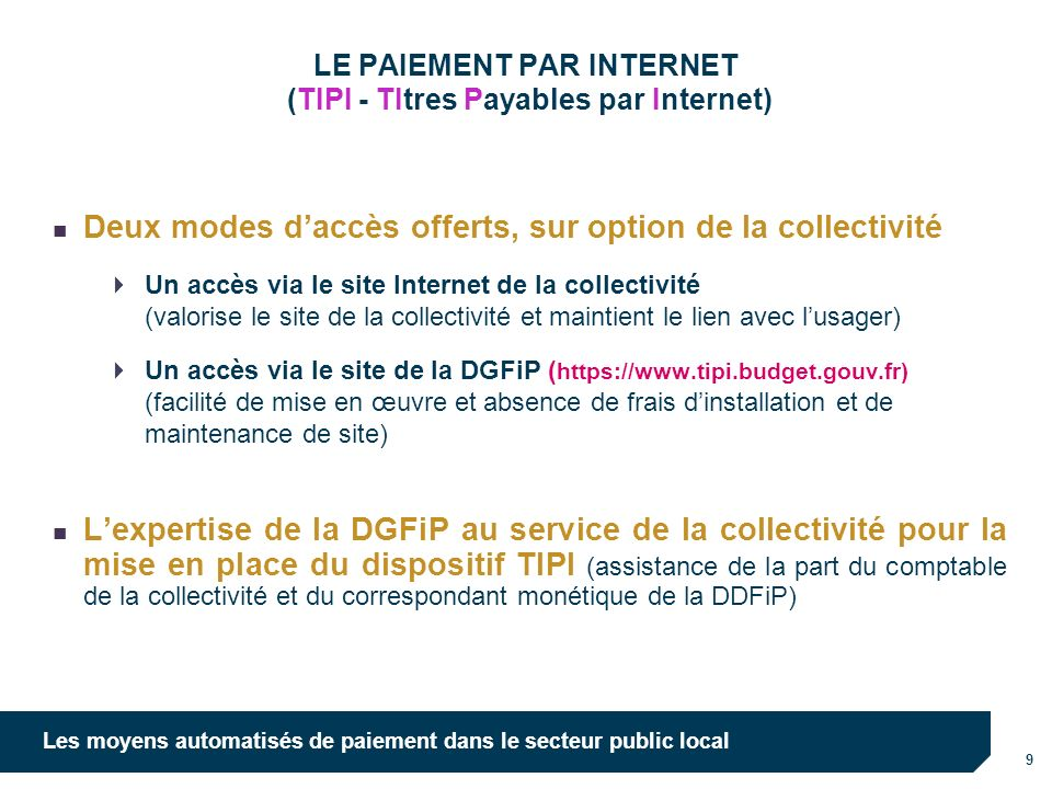 LE PAIEMENT PAR INTERNET (TIPI - TItres Payables par Internet)