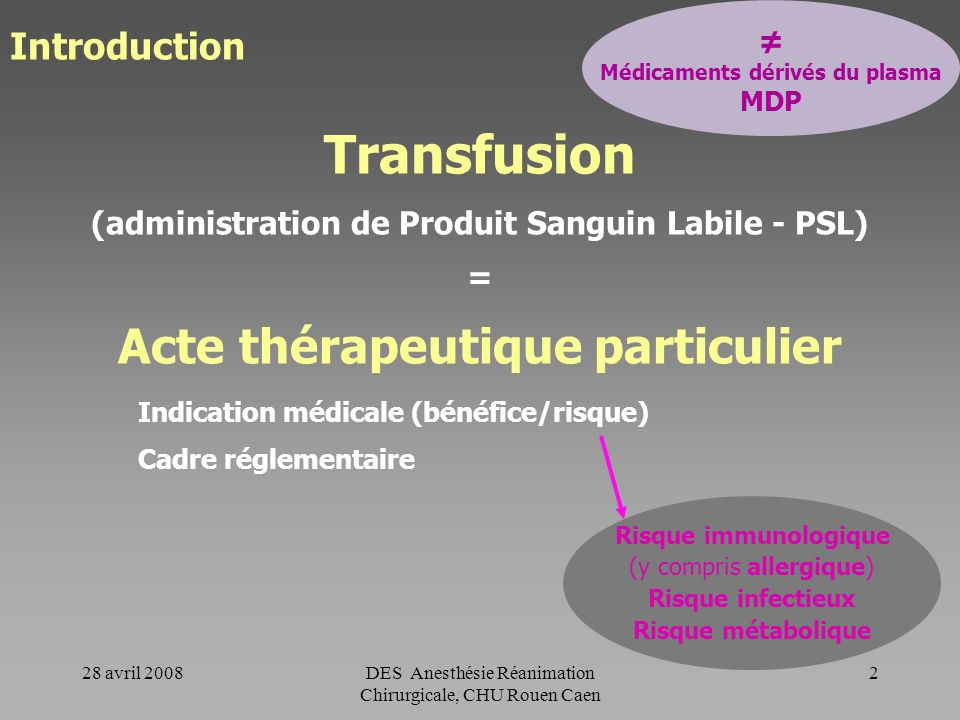 Transfusion Acte thérapeutique particulier Introduction ≠