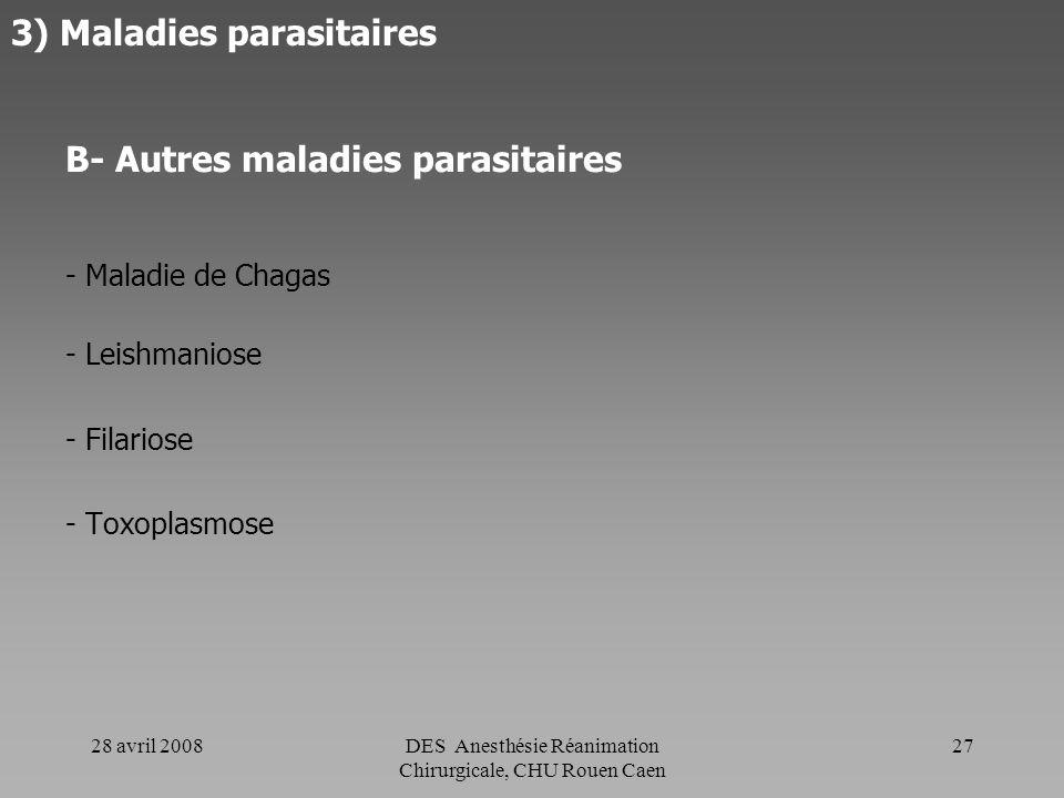 3) Maladies parasitaires