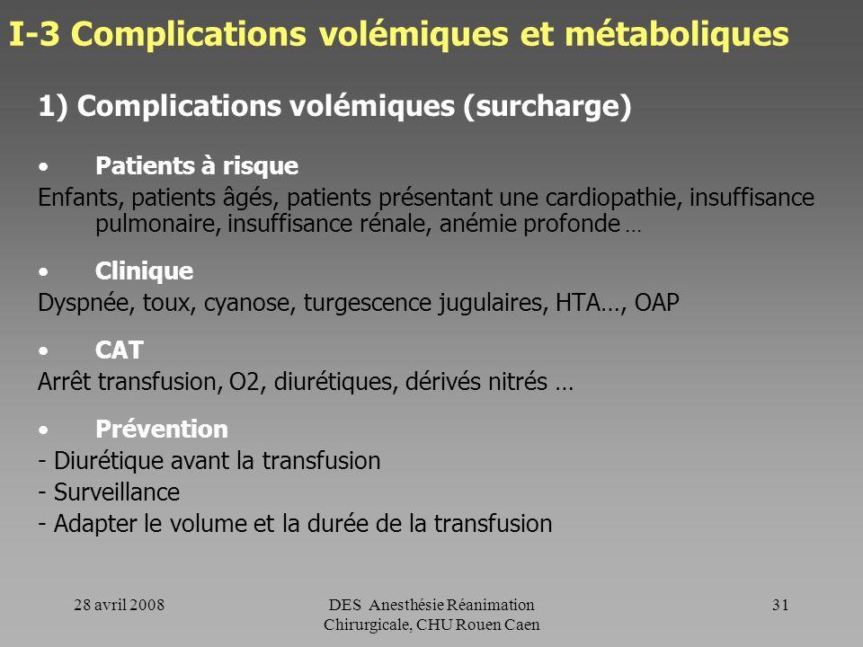 I-3 Complications volémiques et métaboliques