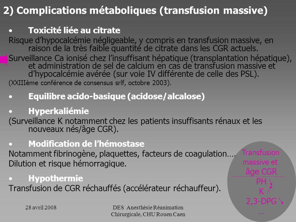 2) Complications métaboliques (transfusion massive)