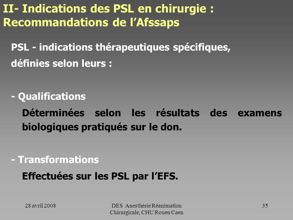 II- Indications des PSL en chirurgie : Recommandations de l'Afssaps