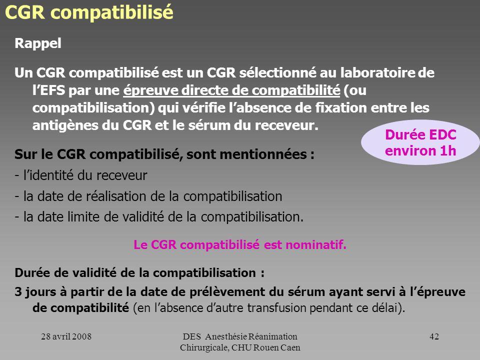 Le CGR compatibilisé est nominatif.