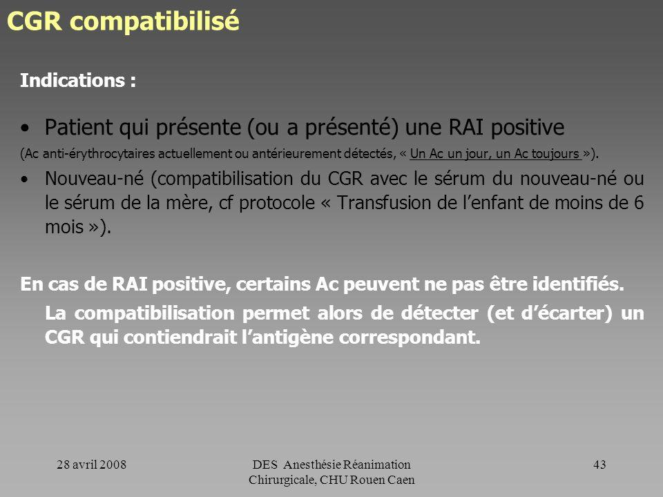 DES Anesthésie Réanimation Chirurgicale, CHU Rouen Caen