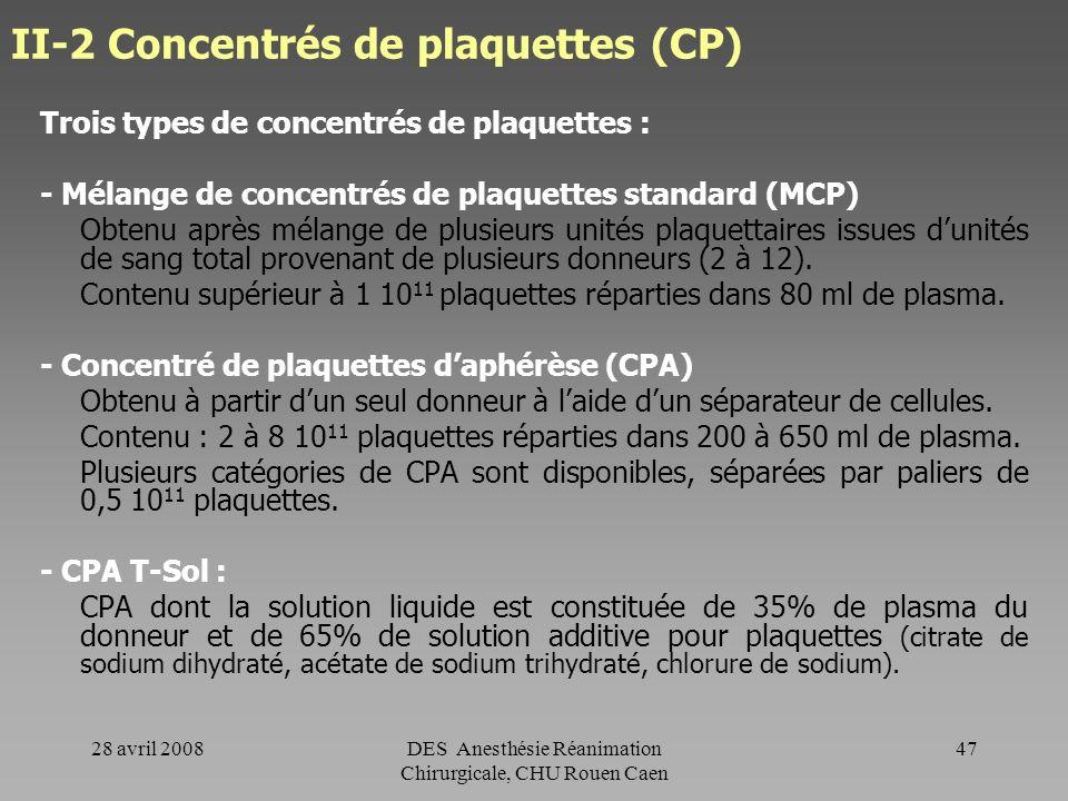 II-2 Concentrés de plaquettes (CP)