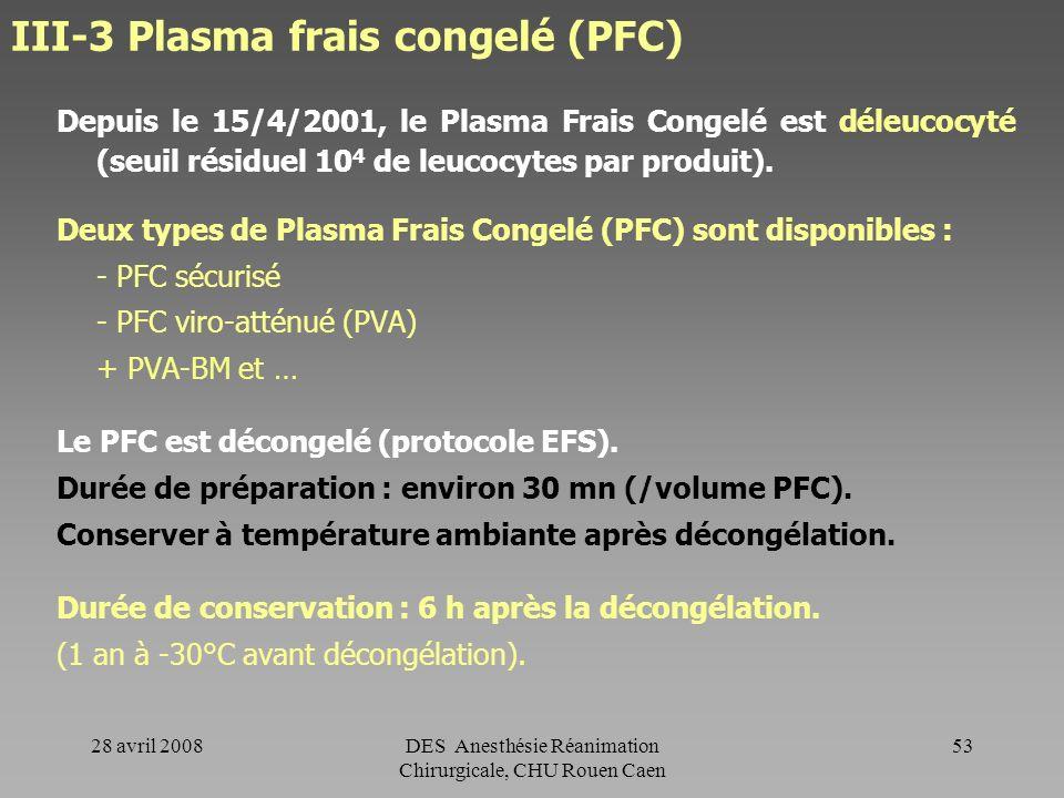 III-3 Plasma frais congelé (PFC)