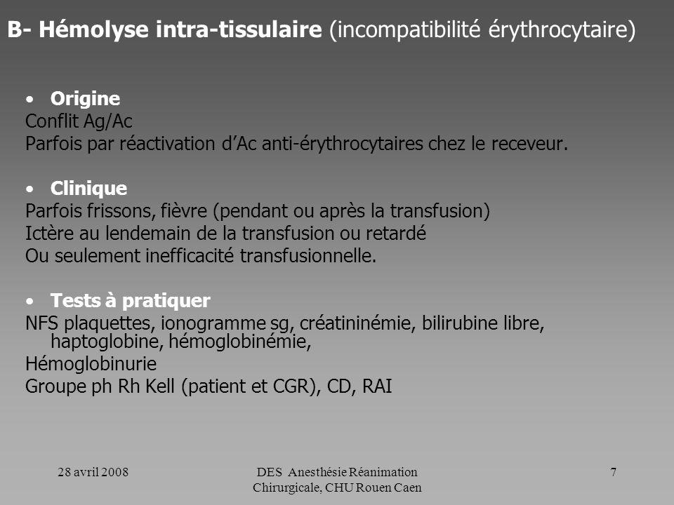 B- Hémolyse intra-tissulaire (incompatibilité érythrocytaire)