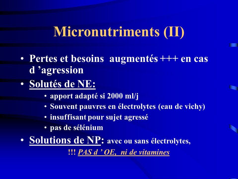 Micronutriments (II) Pertes et besoins augmentés +++ en cas d 'agression. Solutés de NE: apport adapté si 2000 ml/j.