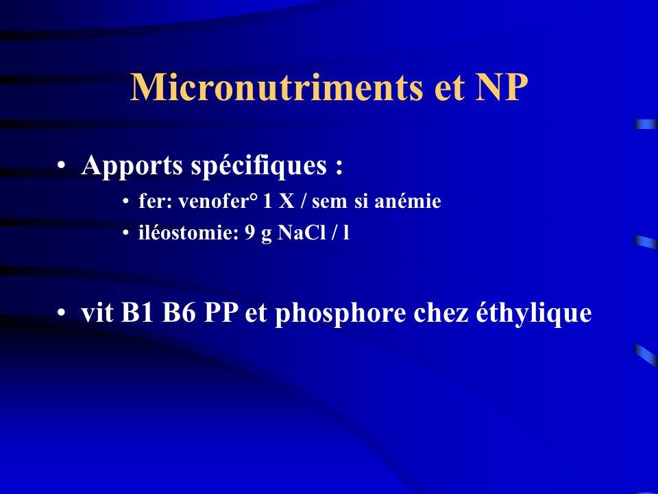 Micronutriments et NP Apports spécifiques :
