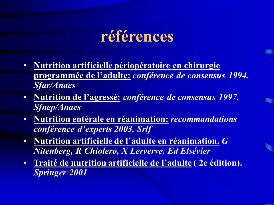 références Nutrition artificielle périopératoire en chirurgie programmée de l'adulte: conférence de consensus 1994. Sfar/Anaes.