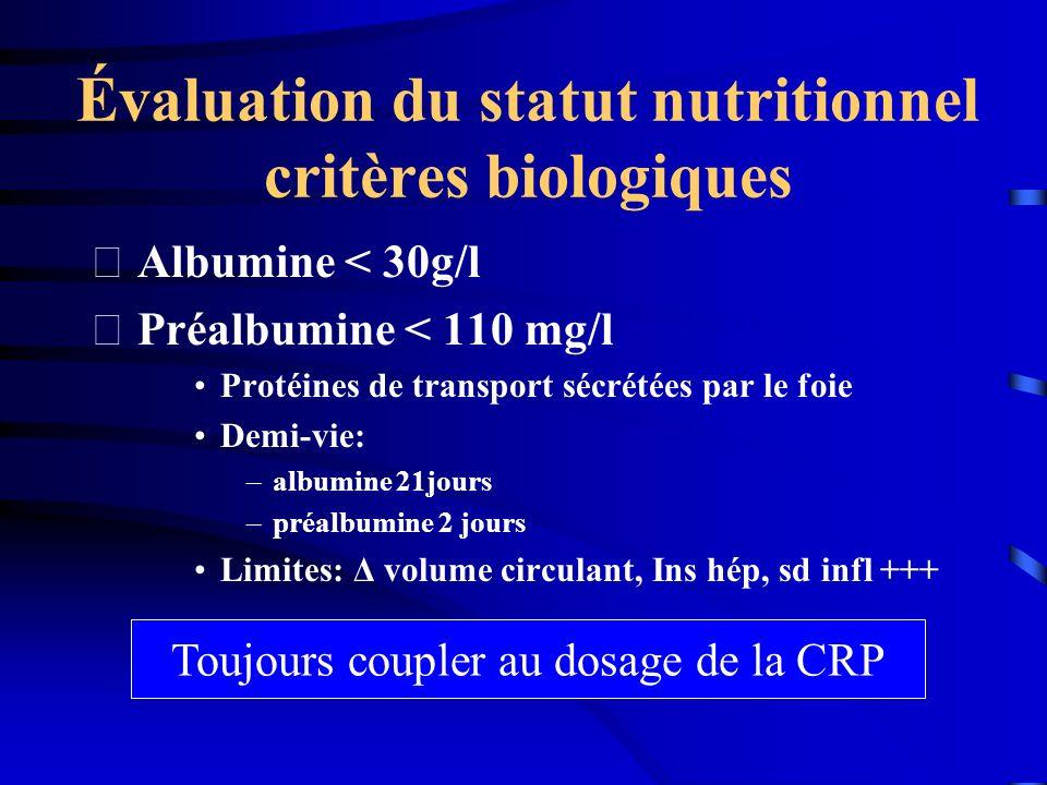 Évaluation du statut nutritionnel critères biologiques