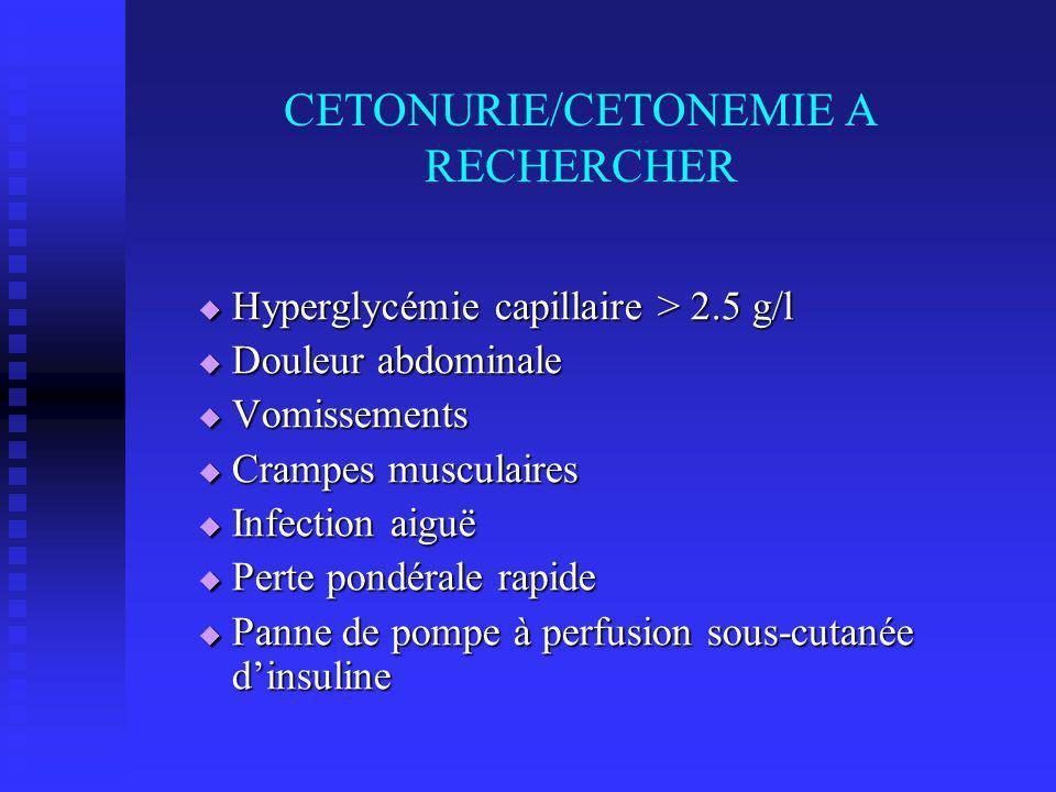 CETONURIE/CETONEMIE A RECHERCHER