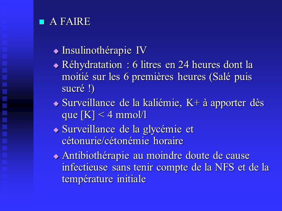 A FAIRE Insulinothérapie IV. Réhydratation : 6 litres en 24 heures dont la moitié sur les 6 premières heures (Salé puis sucré !)