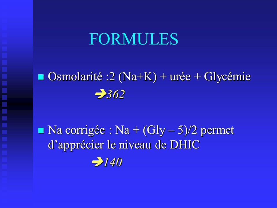 FORMULES Osmolarité :2 (Na+K) + urée + Glycémie 362