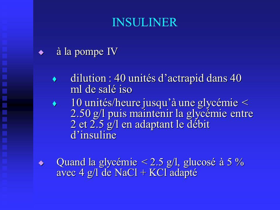 INSULINER dilution : 40 unités d'actrapid dans 40 ml de salé iso
